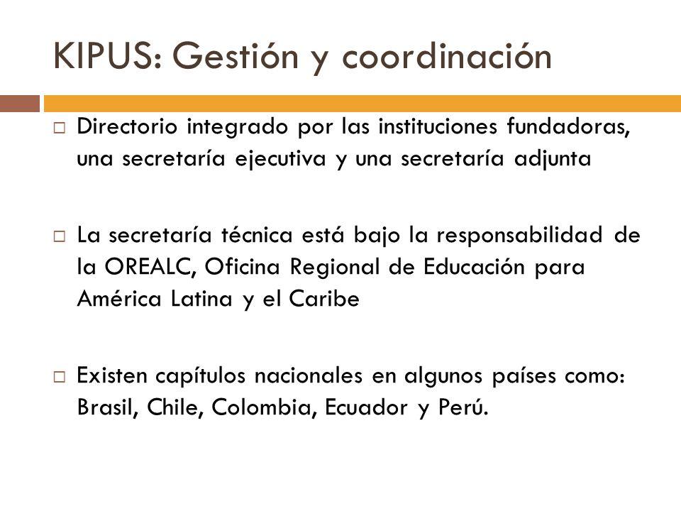 KIPUS: Gestión y coordinación Directorio integrado por las instituciones fundadoras, una secretaría ejecutiva y una secretaría adjunta La secretaría t