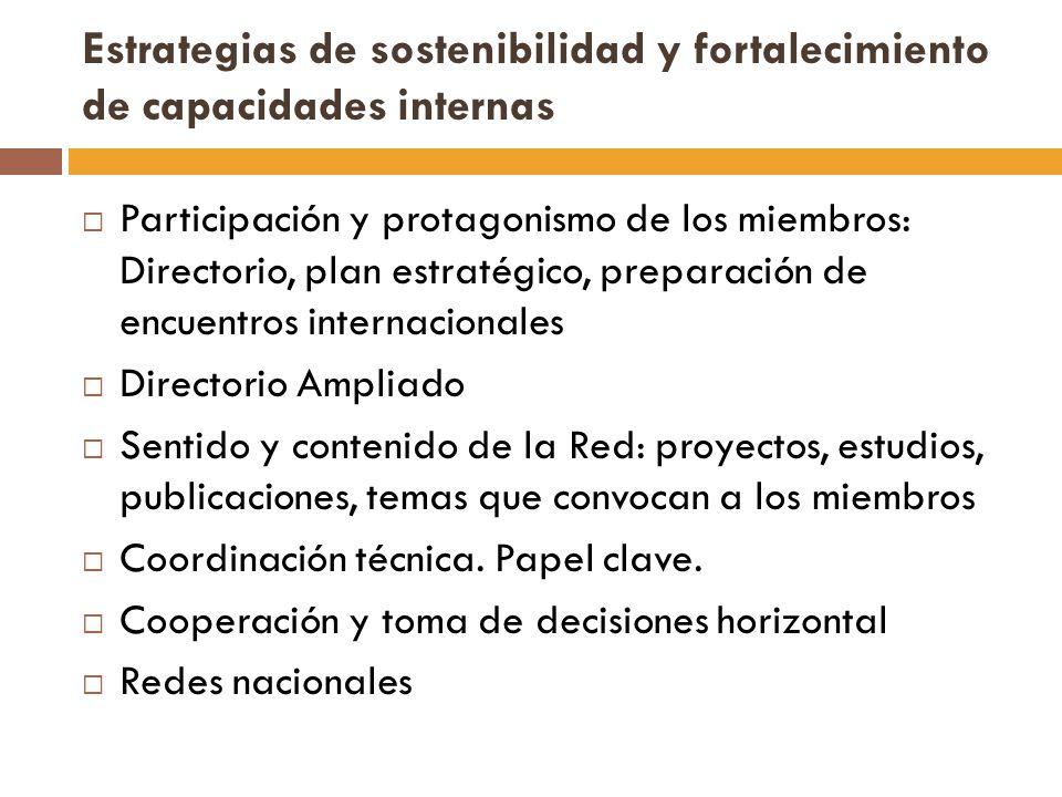 Estrategias de sostenibilidad y fortalecimiento de capacidades internas Participación y protagonismo de los miembros: Directorio, plan estratégico, pr
