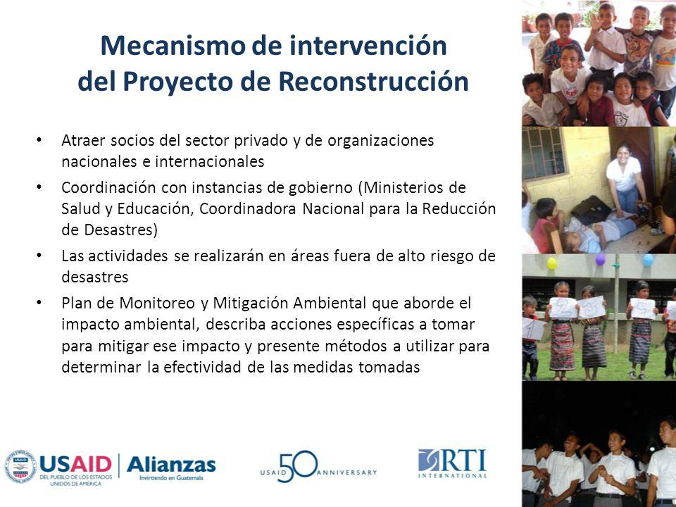 Mecanismo de intervención del Proyecto de Reconstrucción Atraer socios del sector privado y de organizaciones nacionales e internacionales Coordinació