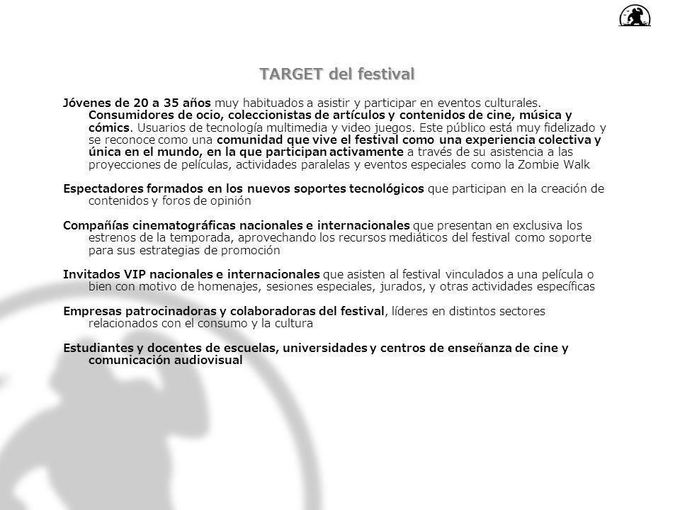 TARGET del festival Jóvenes de 20 a 35 años muy habituados a asistir y participar en eventos culturales. Consumidores de ocio, coleccionistas de artíc