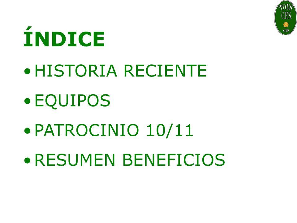 ÍNDICE HISTORIA RECIENTE EQUIPOS PATROCINIO 10/11 RESUMEN BENEFICIOS