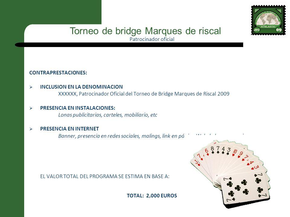 Patrocinador oficial CONTRAPRESTACIONES: INCLUSION EN LA DENOMINACION XXXXXX, Patrocinador Oficial del Torneo de Bridge Marques de Riscal 2009 PRESENC