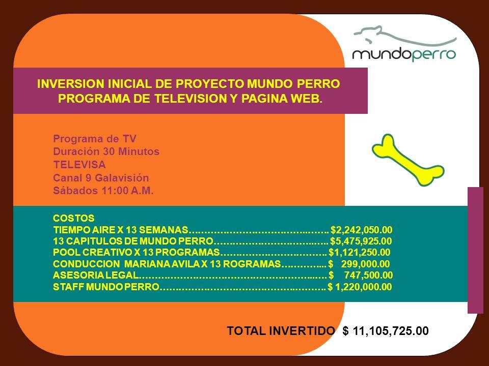 INVERSION INICIAL DE PROYECTO MUNDO PERRO PROGRAMA DE TELEVISION Y PAGINA WEB. Programa de TV Duración 30 Minutos TELEVISA Canal 9 Galavisión Sábados