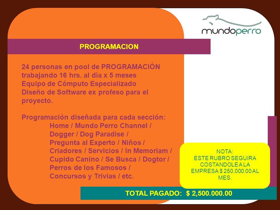 MATERIAL CON LICENCIAS PAGADAS 6 FOTOGRAFOS TRABAJANDO EN EXLUSIVA PARA MUNDO PERRO RETOQUES DIGITALES STOCK FOTOGRAFICO TOTAL PAGADO: $ 1,000.000.00 CONSULTORIA LEGAL - REGISTRO DE IDEA, - REGISTRO DE NOMBRE DEL PROYECTO, - REGISTRO DE NOMBRE DE LAS SECCIONES, - REGISTRO DE LOGOTIPOS, - REGISTRO DE CONTENIDOS EDITORIALES, - REGISTRO DE IMÁGENES FOTOGRAFICAS PROPIAS E ILUSTRACIONES ELABORADAS PARA EL PROYECTO - PAGO DE DERECHOS ANTE EL IMPI - PAGO DE DERECHOS ANTE LA SOGEM TOTAL PAGADO: $356,000.00