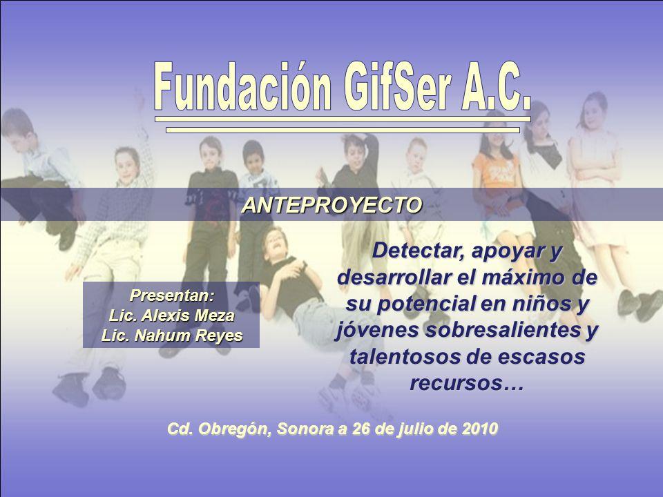 ANTEPROYECTO Presentan: Lic. Alexis Meza Lic. Nahum Reyes Cd.