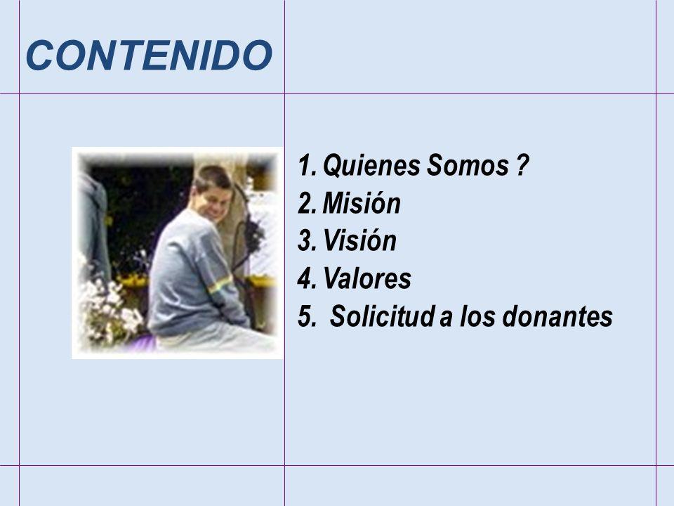 1.Quienes Somos ? 2.Misión 3.Visión 4.Valores 5. Solicitud a los donantes CONTENIDO