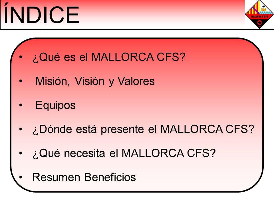 ÍNDICE ¿Qué es el MALLORCA CFS? Misión, Visión y Valores Equipos ¿Dónde está presente el MALLORCA CFS? ¿Qué necesita el MALLORCA CFS? Resumen Benefici