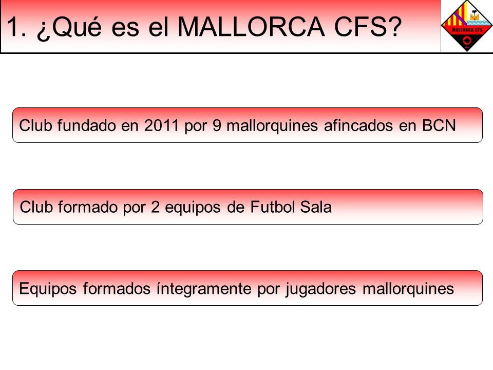 1. ¿Qué es el MALLORCA CFS? Club fundado en 2011 por 9 mallorquines afincados en BCN Club formado por 2 equipos de Futbol Sala Equipos formados íntegr