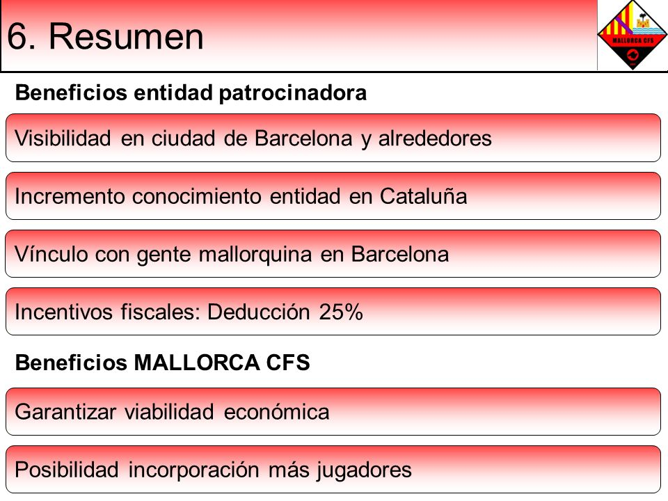 6. Resumen Visibilidad en ciudad de Barcelona y alrededores Incremento conocimiento entidad en Cataluña Vínculo con gente mallorquina en Barcelona Gar
