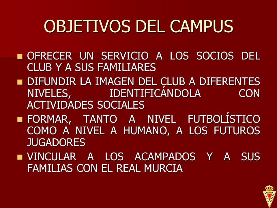 OBJETIVOS DEL CAMPUS OFRECER UN SERVICIO A LOS SOCIOS DEL CLUB Y A SUS FAMILIARES OFRECER UN SERVICIO A LOS SOCIOS DEL CLUB Y A SUS FAMILIARES DIFUNDI