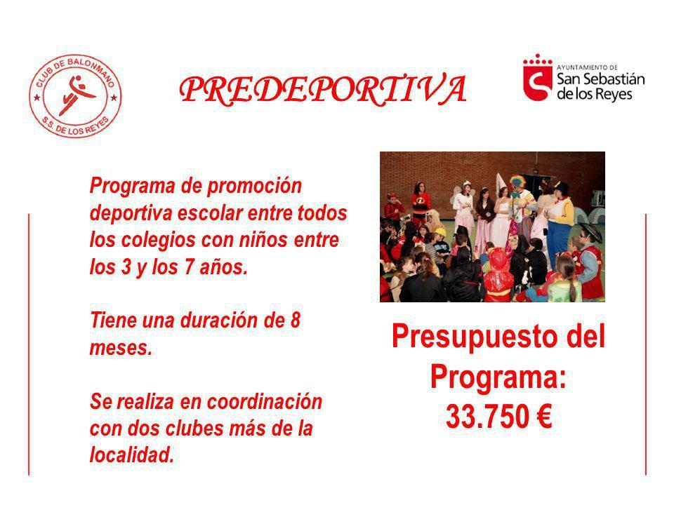 PREDEPORTIVA Programa de promoción deportiva escolar entre todos los colegios con niños entre los 3 y los 7 años. Tiene una duración de 8 meses. Se re