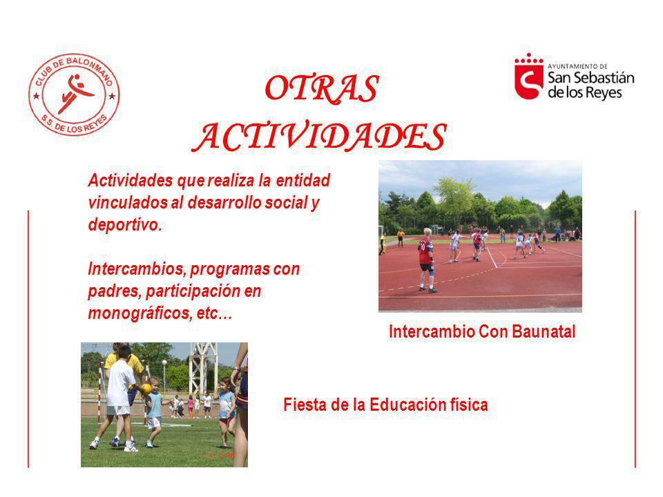 OTRAS ACTIVIDADES Actividades que realiza la entidad vinculados al desarrollo social y deportivo. Intercambios, programas con padres, participación en