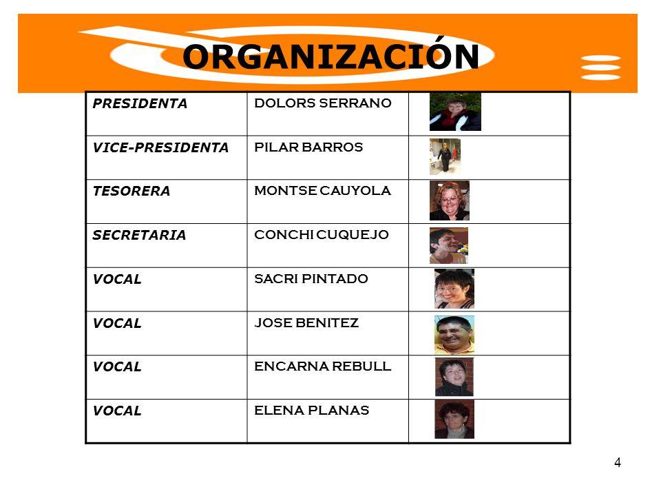 4 PRESIDENTA DOLORS SERRANO VICE-PRESIDENTA PILAR BARROS TESORERA MONTSE CAUYOLA SECRETARIA CONCHI CUQUEJO VOCAL SACRI PINTADO VOCAL JOSE BENITEZ VOCA