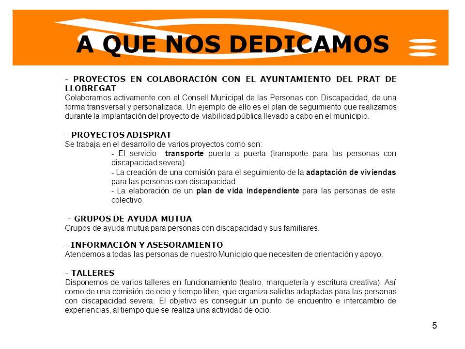 6 NUESTRA RAZÓN DE SER Buscamos aglutinar el sentir de las personas con discapacidad de nuestro municipio y dotarlas de una voz común que de respuesta a sus necesidades, bien sea apoyando los proyectos que se plantean desde el Ayuntamiento del Prat de Llobregat como presentando y defendiendo propuestas propias desde ADISPRAT.