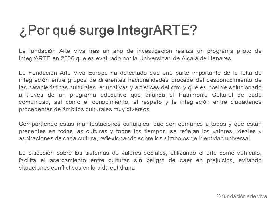 ¿Por qué surge IntegrARTE? La fundación Arte Viva tras un año de investigación realiza un programa piloto de IntegrARTE en 2006 que es evaluado por la