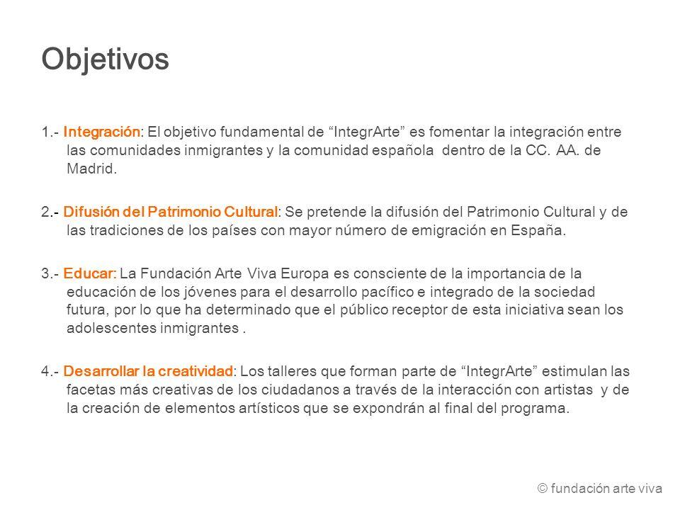 Objetivos 1.- Integración: El objetivo fundamental de IntegrArte es fomentar la integración entre las comunidades inmigrantes y la comunidad española