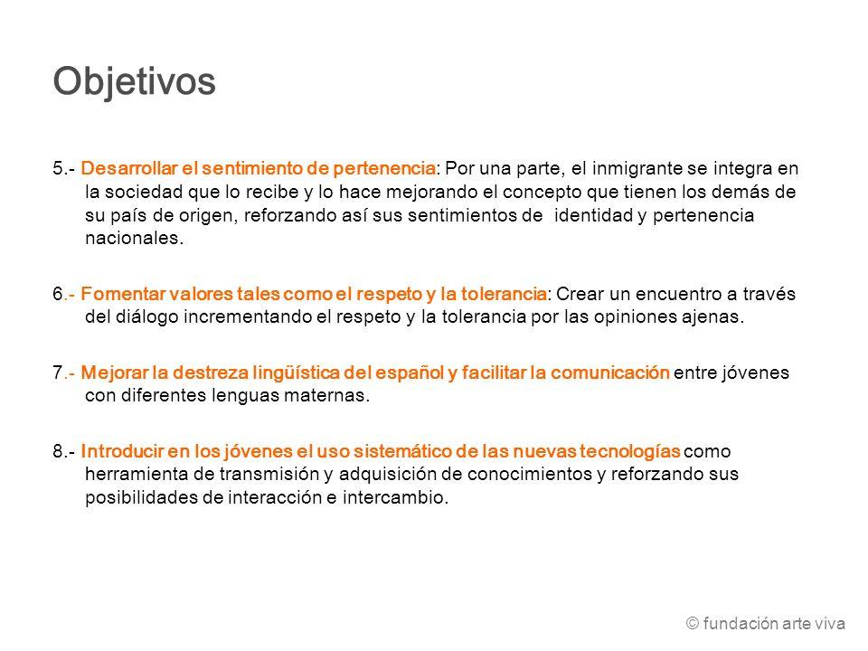 Objetivos 5.- Desarrollar el sentimiento de pertenencia: Por una parte, el inmigrante se integra en la sociedad que lo recibe y lo hace mejorando el c