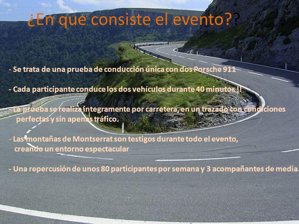 ¿En que consiste el evento?? - Se trata de una prueba de conducción única con dos Porsche 911 - Cada participante conduce los dos vehículos durante 40