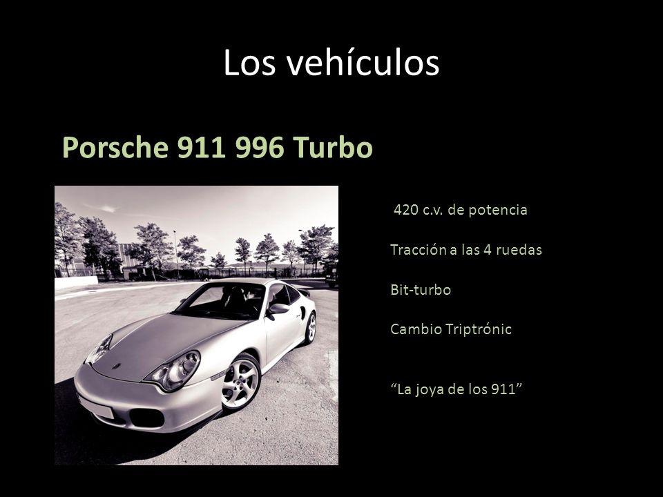 Los vehículos Porsche 911 996 Turbo 420 c.v. de potencia Tracción a las 4 ruedas Bit-turbo Cambio Triptrónic La joya de los 911