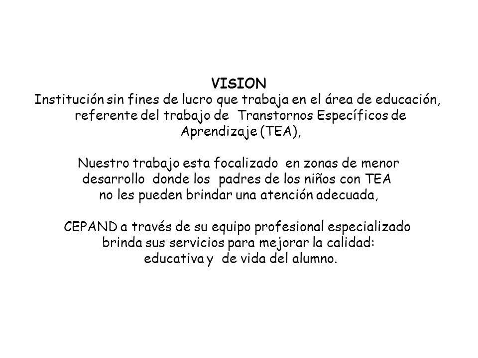 VISION Institución sin fines de lucro que trabaja en el área de educación, referente del trabajo de Transtornos Específicos de Aprendizaje (TEA), Nues