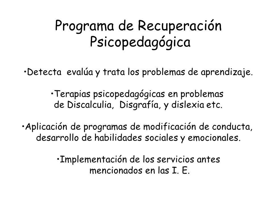 Programa de Recuperación Psicopedagógica Detecta evalúa y trata los problemas de aprendizaje. Terapias psicopedagógicas en problemas de Discalculia, D