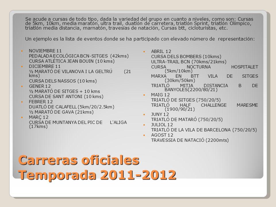 Carreras oficiales Temporada 2011-2012 NOVIEMBRE 11 PEDALADA ECOLÓGICA BCN-SITGES (42kms) CURSA ATLÉTICA JEAN BOUIN (10 kms) DICIEMBRE 11 ½ MARATÓ DE