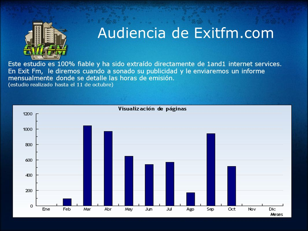 Audiencia de Exitfm.com Este estudio es 100% fiable y ha sido extraído directamente de 1and1 internet services.