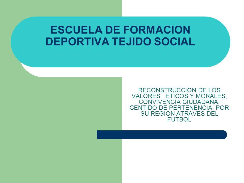ESCUELA DE FORMACION DEPORTIVA TEJIDO SOCIAL RECONSTRUCCION DE LOS VALORES, ETICOS Y MORALES, CONVIVENCIA CIUDADANA, CENTIDO DE PERTENENCIA, POR SU RE