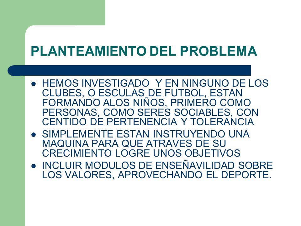 PLANTEAMIENTO DEL PROBLEMA HEMOS INVESTIGADO Y EN NINGUNO DE LOS CLUBES, O ESCULAS DE FUTBOL, ESTAN FORMANDO ALOS NIÑOS, PRIMERO COMO PERSONAS, COMO S