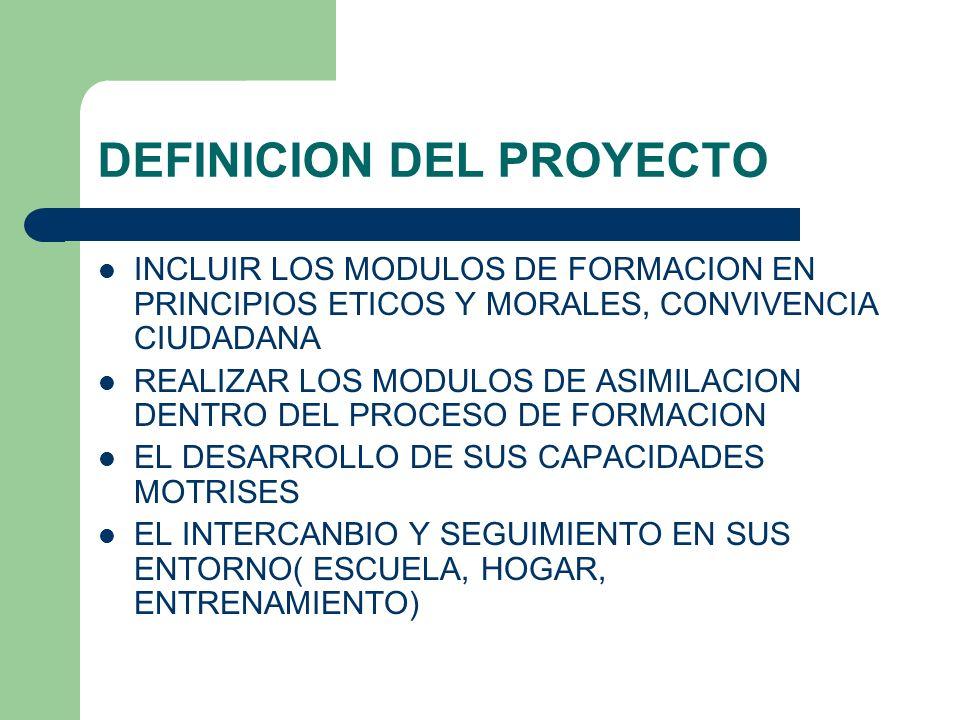 DEFINICION DEL PROYECTO INCLUIR LOS MODULOS DE FORMACION EN PRINCIPIOS ETICOS Y MORALES, CONVIVENCIA CIUDADANA REALIZAR LOS MODULOS DE ASIMILACION DEN