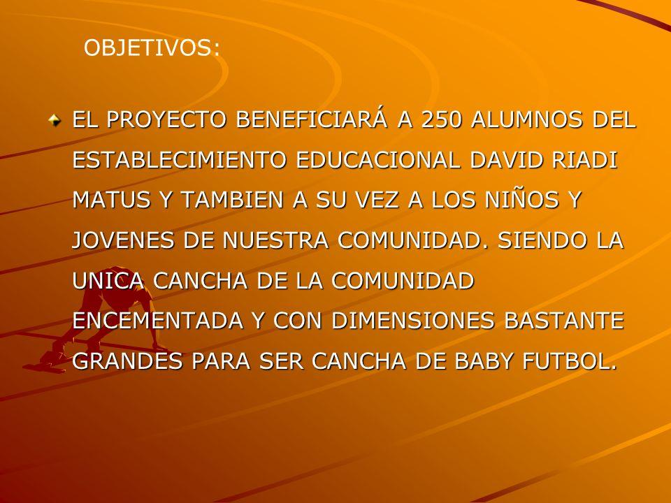EL PROYECTO BENEFICIARÁ A 250 ALUMNOS DEL ESTABLECIMIENTO EDUCACIONAL DAVID RIADI MATUS Y TAMBIEN A SU VEZ A LOS NIÑOS Y JOVENES DE NUESTRA COMUNIDAD.