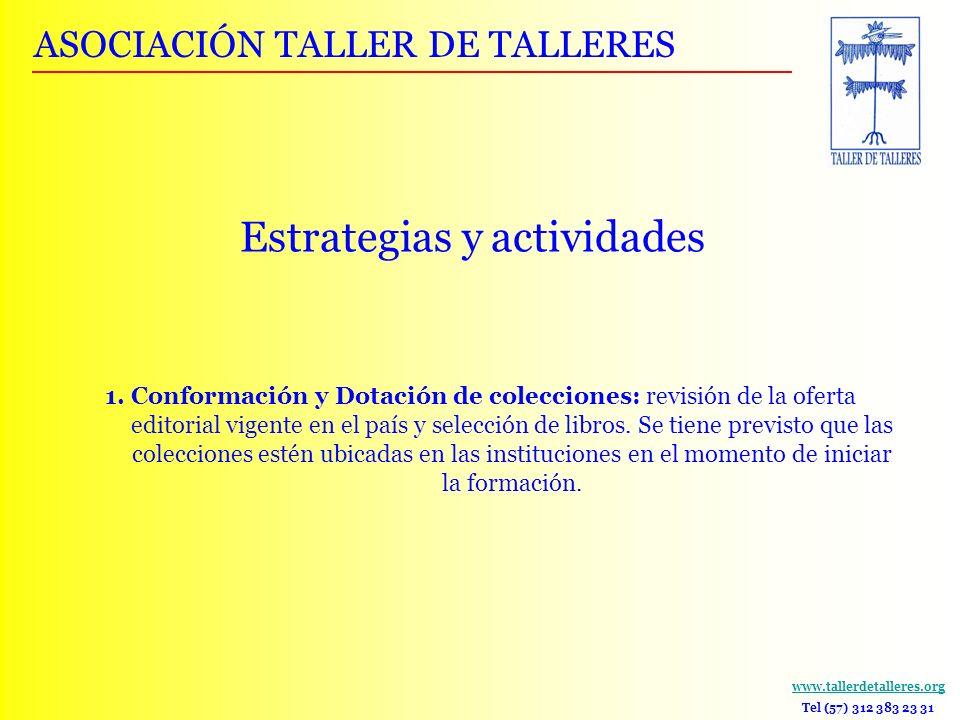 www.tallerdetalleres.org Tel (57) 312 383 23 31 Estrategias y actividades 1. Conformación y Dotación de colecciones: revisión de la oferta editorial v