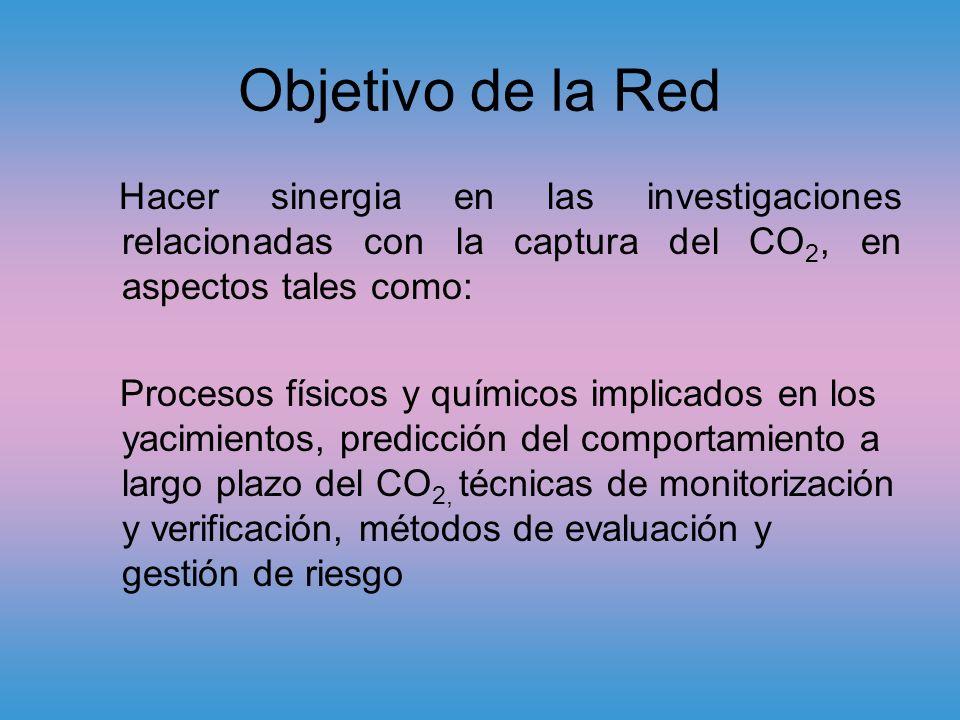 Objetivo de la Red Hacer sinergia en las investigaciones relacionadas con la captura del CO 2, en aspectos tales como: Procesos físicos y químicos implicados en los yacimientos, predicción del comportamiento a largo plazo del CO 2, técnicas de monitorización y verificación, métodos de evaluación y gestión de riesgo
