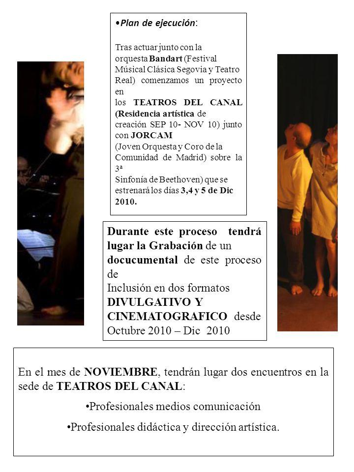 Plan de ejecución : Tras actuar junto con la orquesta Bandart (Festival Músical Clásica Segovia y Teatro Real) comenzamos un proyecto en los TEATROS D