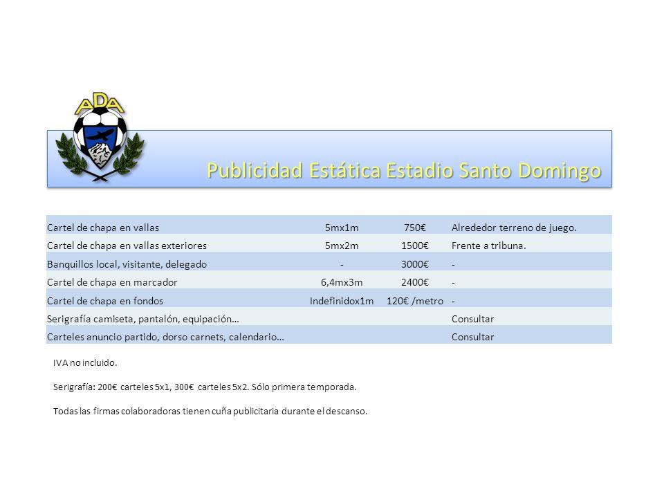 Publicidad Estática Estadio Santo Domingo Cartel de chapa en vallas5mx1m750Alrededor terreno de juego.