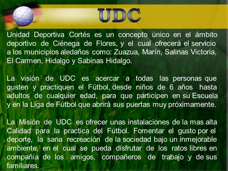 Unidad Deportiva Cortés es un concepto único en el ámbito deportivo de Ciénega de Flores, y el cual ofrecerá el servicio a los municipios aledaños como: Zuazua, Marín, Salinas Victoria, El Carmen, Hidalgo y Sabinas Hidalgo.