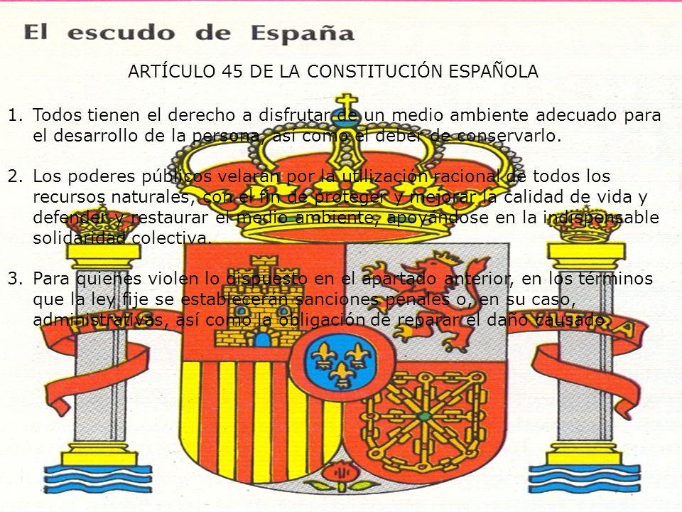 ARTÍCULO 45 DE LA CONSTITUCIÓN ESPAÑOLA 1.Todos tienen el derecho a disfrutar de un medio ambiente adecuado para el desarrollo de la persona, así como