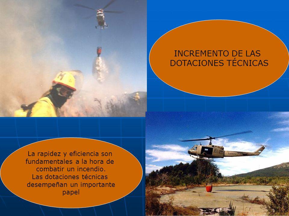 INCREMENTO DE LAS DOTACIONES TÉCNICAS La rapidez y eficiencia son fundamentales a la hora de combatir un incendio. Las dotaciones técnicas desempeñan