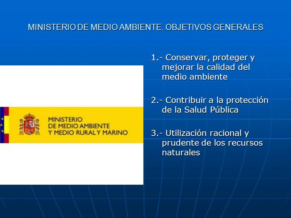 MINISTERIO DE MEDIO AMBIENTE. OBJETIVOS GENERALES 1.- Conservar, proteger y mejorar la calidad del medio ambiente 2.- Contribuir a la protección de la