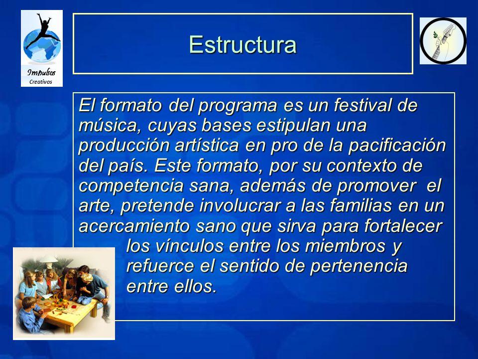 Impulsos Creativos Estructura El formato del programa es un festival de música, cuyas bases estipulan una producción artística en pro de la pacificación del país.