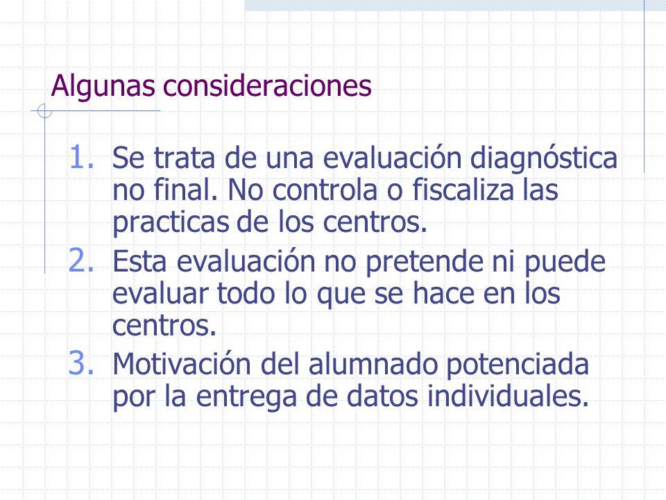 Algunas consideraciones 1. Se trata de una evaluación diagnóstica no final. No controla o fiscaliza las practicas de los centros. 2. Esta evaluación n