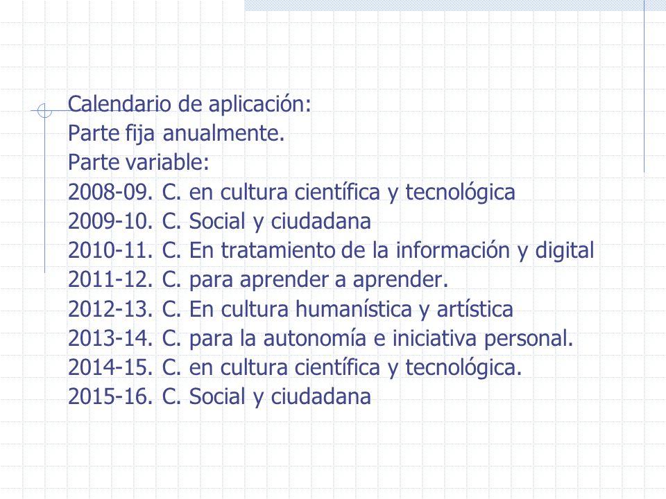 Calendario de aplicación: Parte fija anualmente. Parte variable: 2008-09. C. en cultura científica y tecnológica 2009-10. C. Social y ciudadana 2010-1