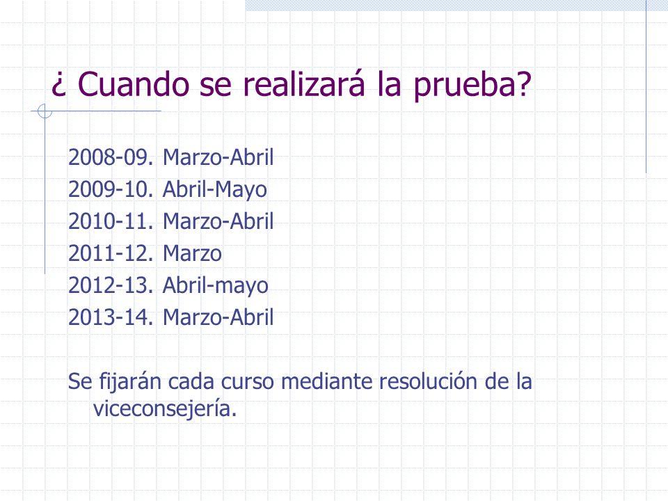 ¿ Cuando se realizará la prueba? 2008-09. Marzo-Abril 2009-10. Abril-Mayo 2010-11. Marzo-Abril 2011-12. Marzo 2012-13. Abril-mayo 2013-14. Marzo-Abril