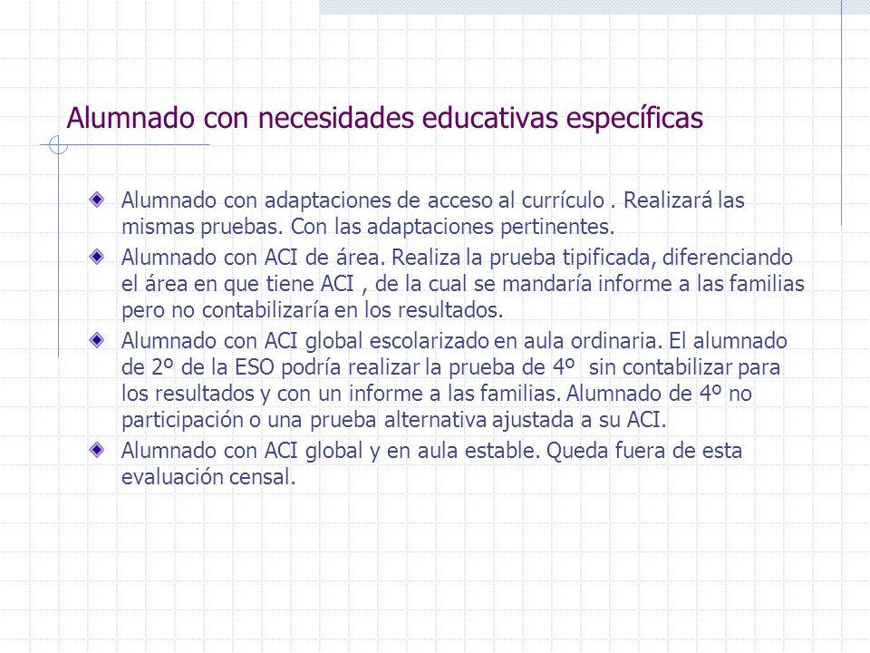 Alumnado con necesidades educativas específicas Alumnado con adaptaciones de acceso al currículo. Realizará las mismas pruebas. Con las adaptaciones p
