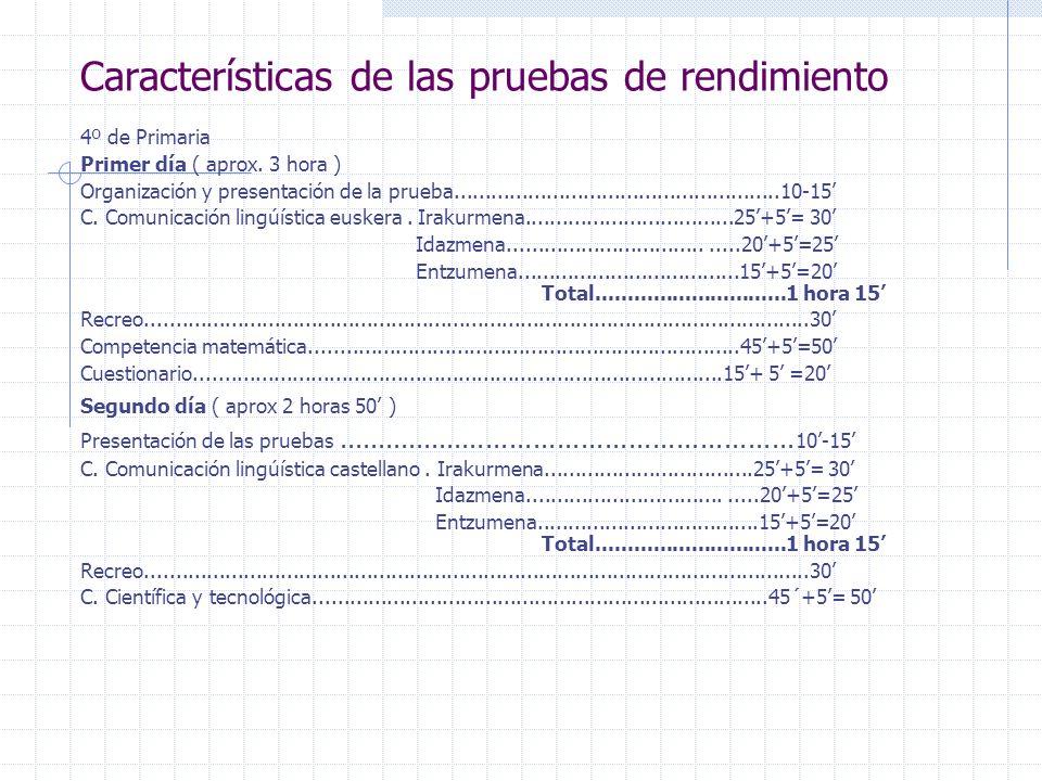 Características de las pruebas de rendimiento 4º de Primaria Primer día ( aprox. 3 hora ) Organización y presentación de la prueba....................