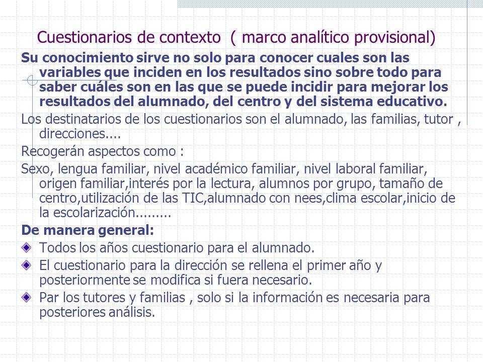 Cuestionarios de contexto ( marco analítico provisional) Su conocimiento sirve no solo para conocer cuales son las variables que inciden en los result
