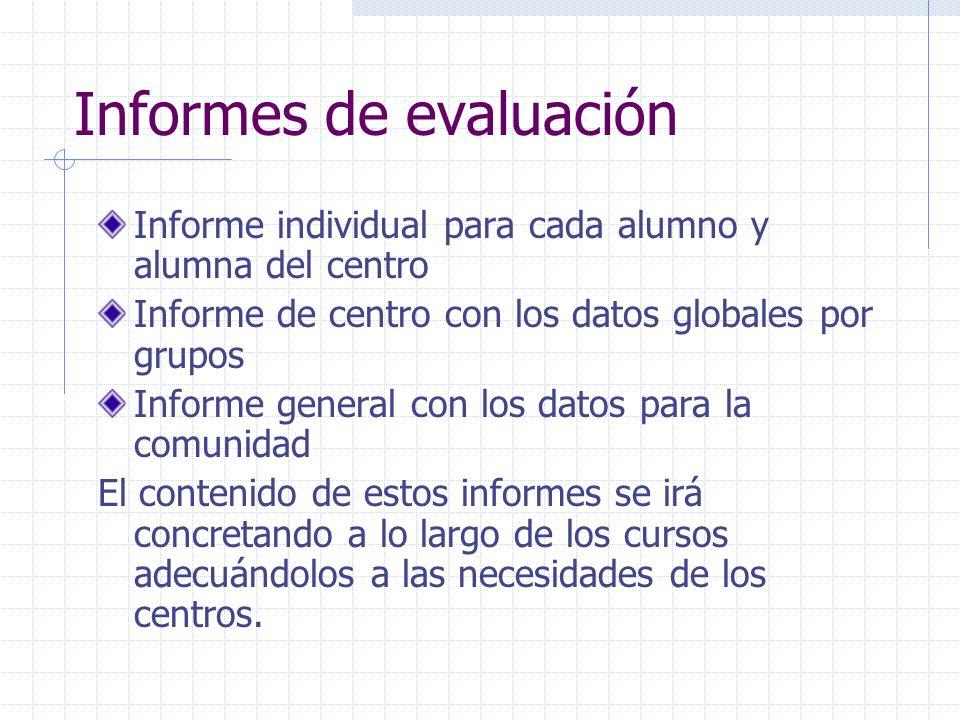 Informes de evaluación Informe individual para cada alumno y alumna del centro Informe de centro con los datos globales por grupos Informe general con
