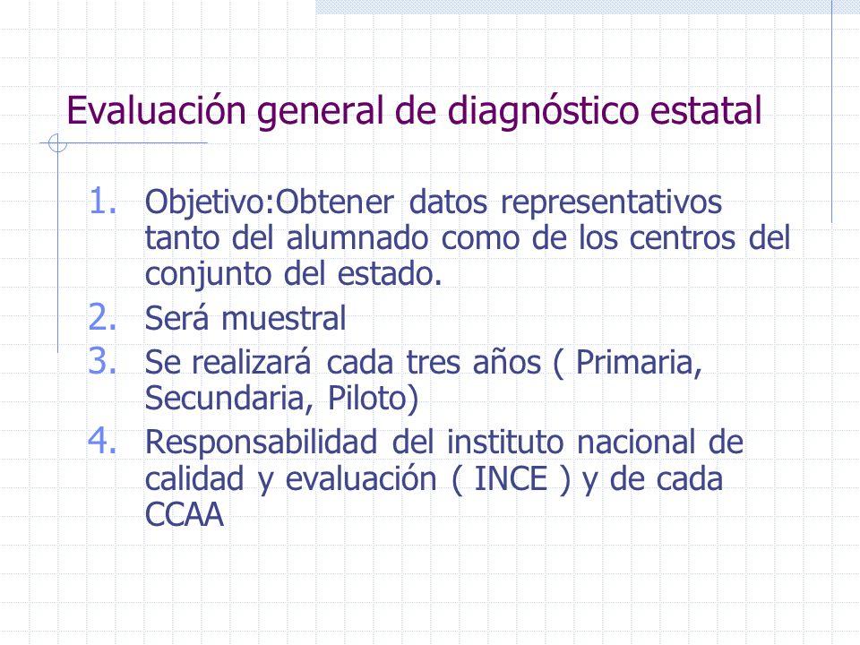 Evaluación general de diagnóstico estatal 1. Objetivo:Obtener datos representativos tanto del alumnado como de los centros del conjunto del estado. 2.