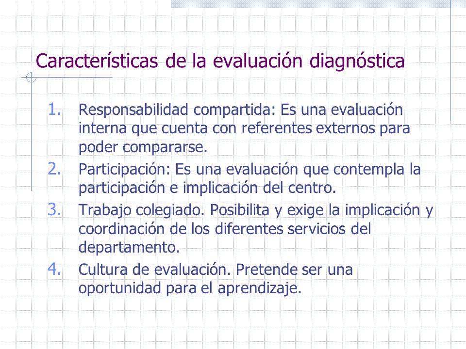 Características de la evaluación diagnóstica 1. Responsabilidad compartida: Es una evaluación interna que cuenta con referentes externos para poder co