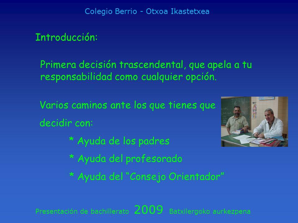 Presentación de bachillerato 2009 Batxilergoko aurkezpena Colegio Berrio - Otxoa Ikastetxea Introducción: Primera decisión trascendental, que apela a